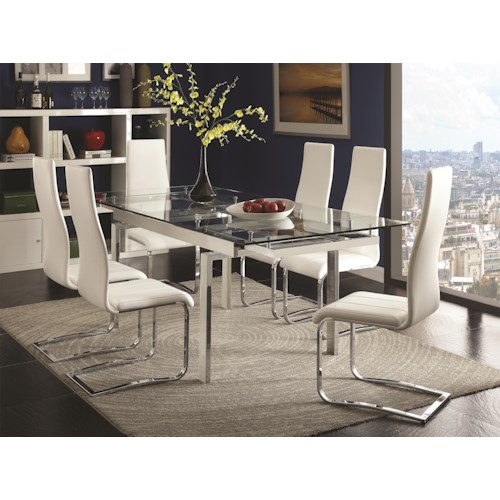 Coaster Modern Dining Contemporary Dining Room Set With Glass Table Dream H