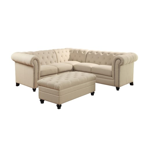 Sectional Sofa In Huntsville Al: Coaster Roy Button-Tufted Sectional Sofa