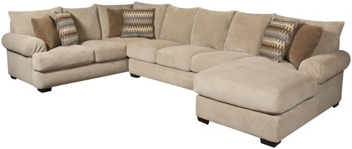 Corinthian 61a0 sectional sofa with right side chaise for Sectional sofa jacksonville