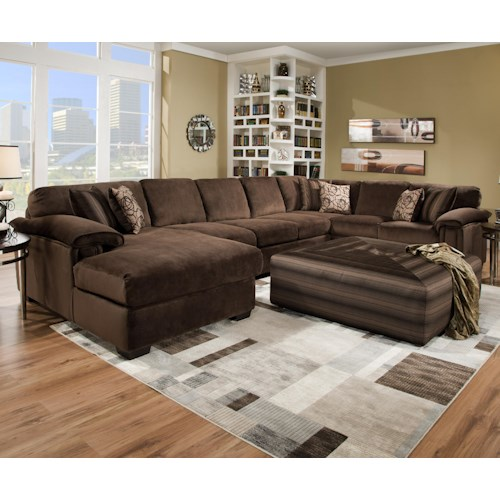 Corinthian 6500 sect six person sectional sofa for for Sectional sofa furniture fair