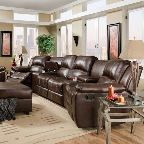 Room To Go Furniture: Brady Four Seat Reclining Theater Seating With Storage And