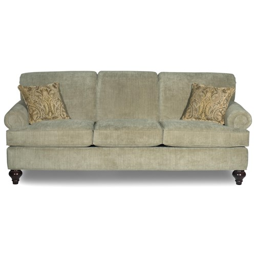 Craftmaster 7047 traditional sofa with turned wood legs for Traditional sofas with legs