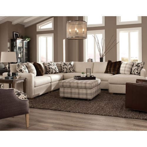Craftmaster 751100 five piece sectional with raf chaise for 5 pc sectional sofas