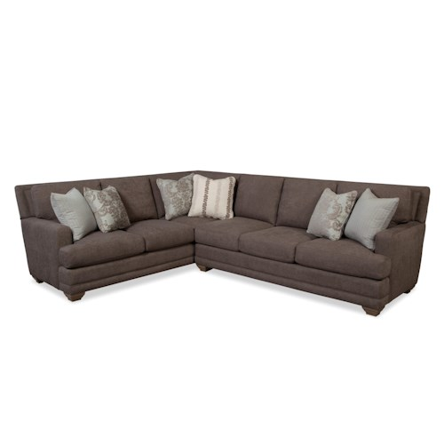 Craftmaster 753650 traditional sectional sofa with toss for Traditional sectional