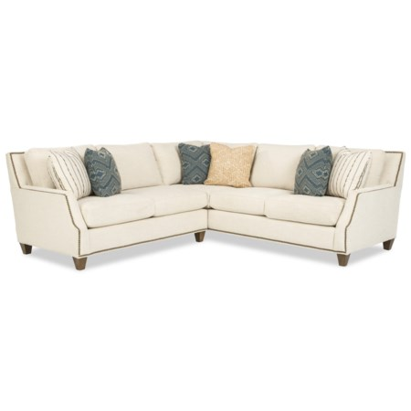4-Seat Corner Sectional Sofa with Nailhead Trim