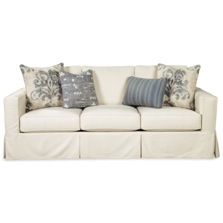 Vintage Skirted Slipcover Sofa with Queen Sleeper