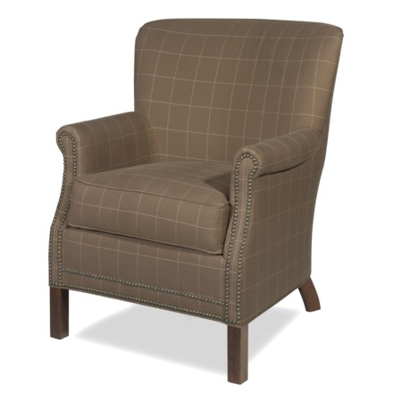 Transitional Rolled Arm Accent Chair with Nailhead Trim