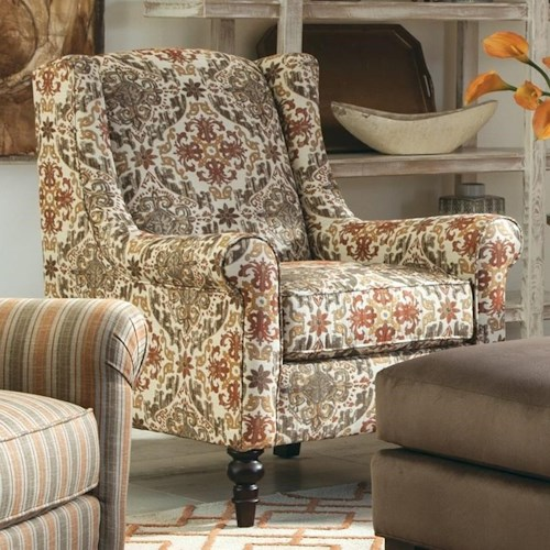 Tempur Traditional Pillow Nz : Craftmaster Accent Chairs Wing Back Chair with Traditional Turned Legs - Belfort Furniture ...