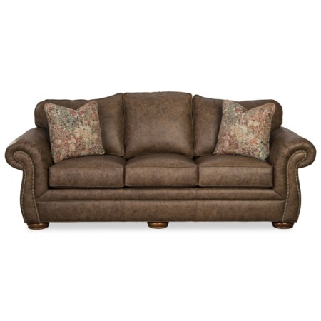 Traditional Leather Camelback Sofa with Nailhead Studs and Toss Pillows