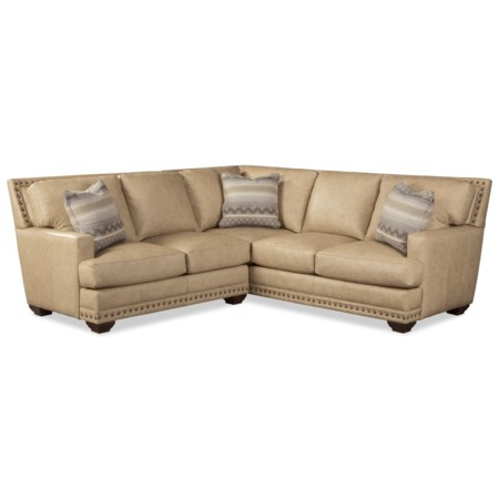 Transitional 4-Seat Leather Sectional Sofa with Oversized Nailheads and Pillows