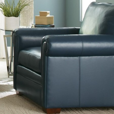 Customizable Leather Chair with Rolled Panel Arms