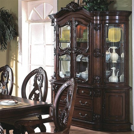 Buffet and Hutch with Four Glass Doors