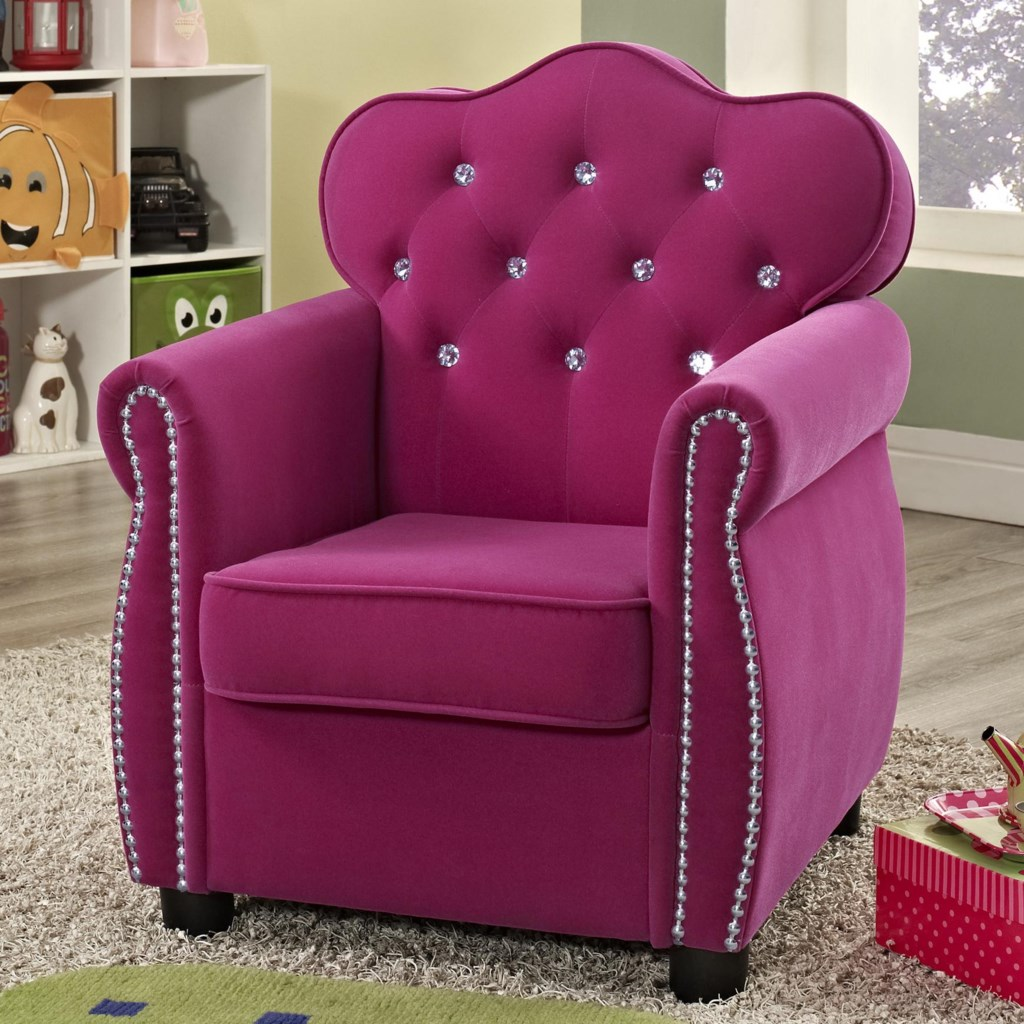 Unique Crown Mark Amelia 7009 Contemporary Pink Kids Chair with Tufted  IG61