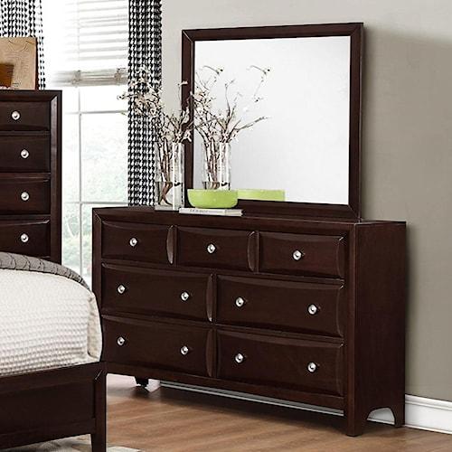 Donovan Dresser And Mirror Set With Modern Espresso Finish