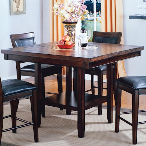 Crown mark fulton counter height table with 20 inch lazy for Markup table