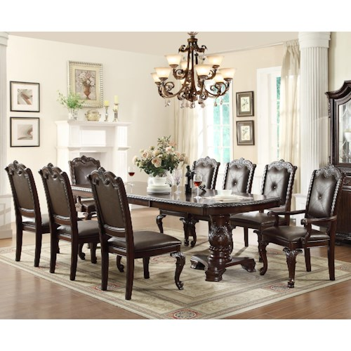 Crown mark kiera traditonal dining table set with 2 arm for Dining room tables jacksonville nc