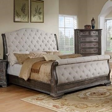 crown mark sheffield upholstered king sleigh bed with button tufting wayside furniture. Black Bedroom Furniture Sets. Home Design Ideas