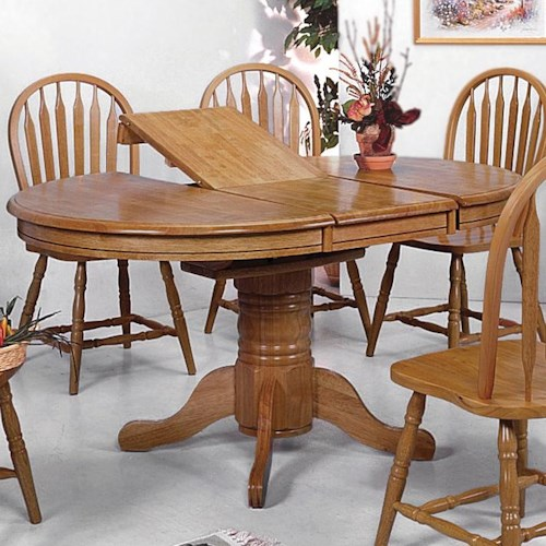 Crown mark windsor solid oval pedestal dining table for Solid wood round dining table with leaf