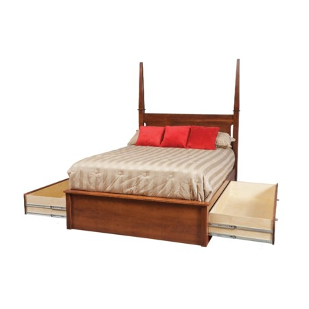"""Full Pedestal Bed W/ 60"""" Storage Drawers on Each Side"""