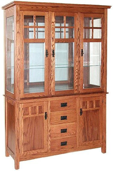 Daniel 39 s amish hutch and buffets mission buffet w hutch for Mission style corner hutch
