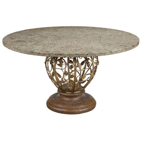 Drexel gourmet dining venezia dining table w 54 round for Round stone top dining table