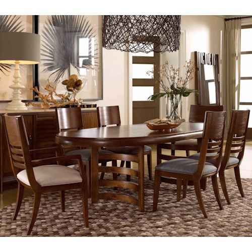 Drexel renderings 7 piece oval table and chair set for Dining sets nashville tn