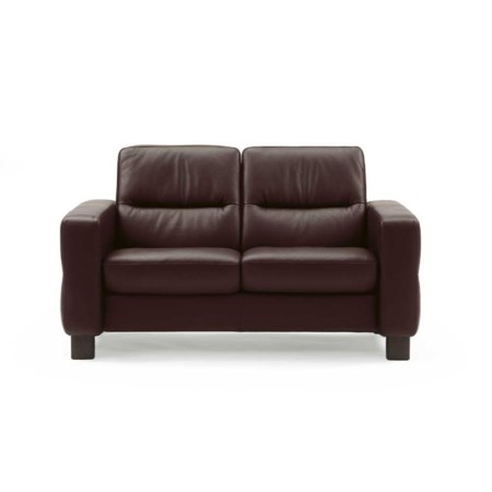 Low Back Reclining Leather Loveseat