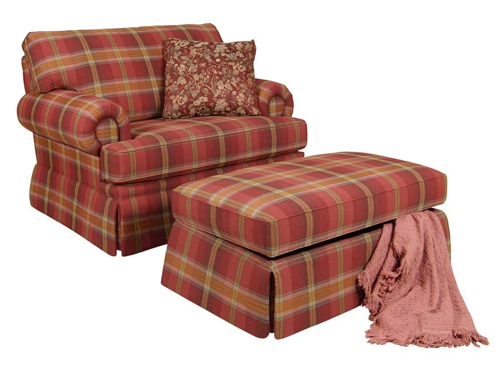 Top England Clare Accent Chair and Skirted Ottoman | Dunk & Bright  RM04