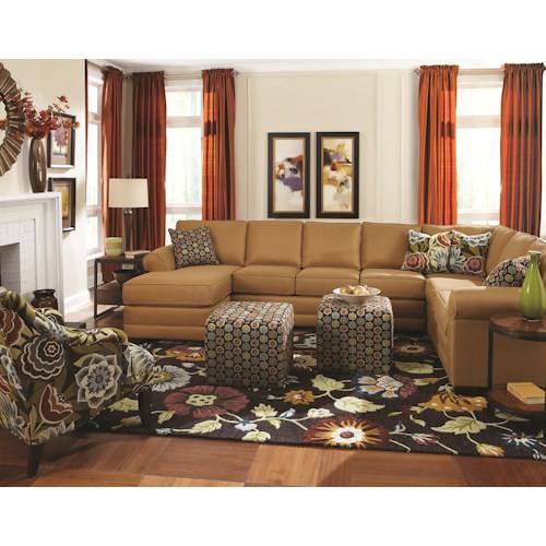 England Brantley 6 Seat Sectional with Chaise - Furniture ...