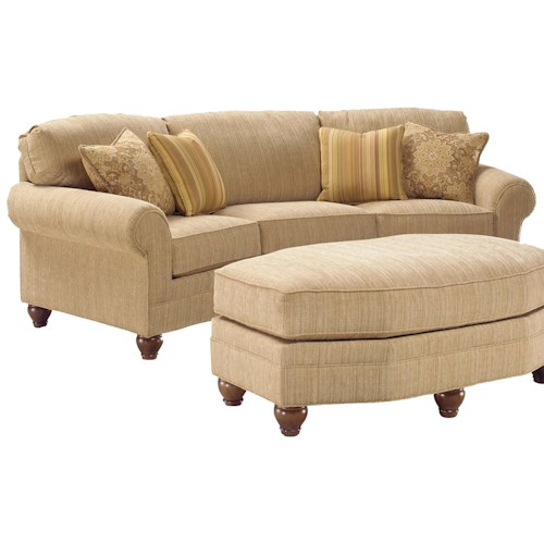 Fairfield 3768 curved arch sofa miller brothers for Conversation sofa