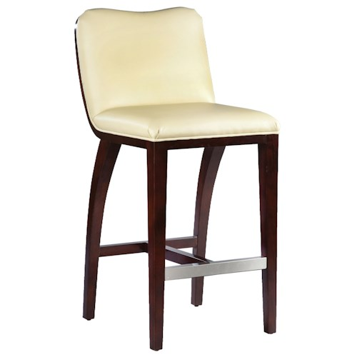 Fairfield Barstools High End Bar Stool With Decorative Exposed Wood Curve Back Belfort