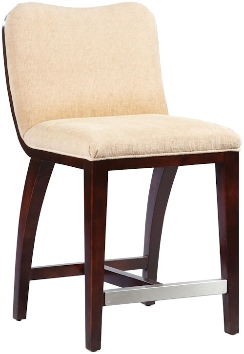 Fairfield Barstools 5075 C7 High End Counter Stool With Decorative Exposed Wood Curve Back