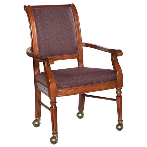 Fairfield chairs picture frame arm chair with leg casters for Living room chairs on wheels
