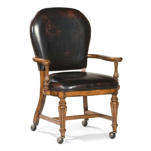 Fairfield chairs traditional exposed wood chair with round for Living room chairs on wheels