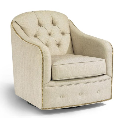 Flexsteel Accents Fairchild Swivel Chair With Nailhead Trim Boulevard Home Furnishings