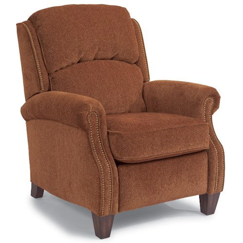 Flexsteel accents whistler high leg recliner with nail for Furniture 0 down