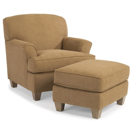 Flexsteel atlantis casual chair and ottoman set story for Furniture 0 down
