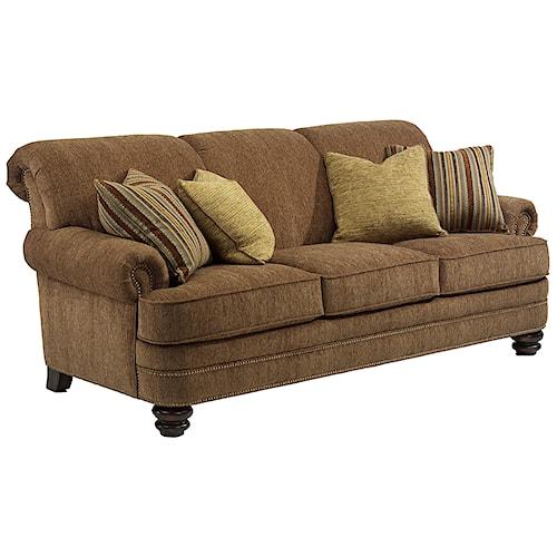Flexsteel bay bridge traditional rolled back sofa for Furniture 0 down
