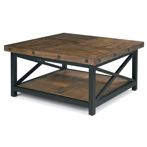 Flexsteel carpenter square cocktail table with metal base for Wood plank top coffee table