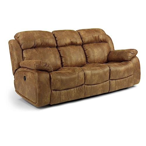 Flexsteel latitudes como double power reclining sofa for Furniture 0 down