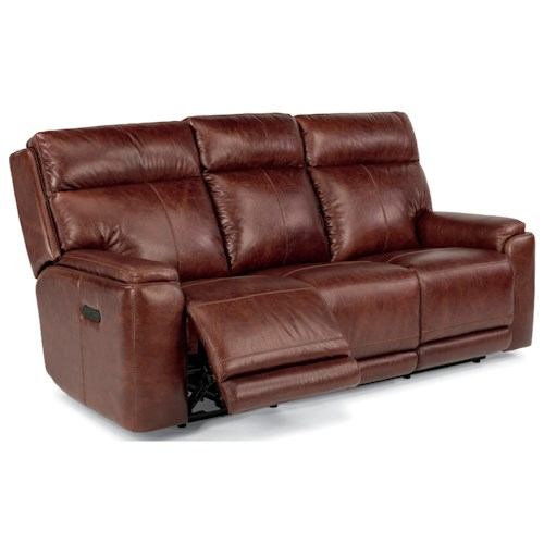 Flexsteel latitudes sienna power reclining sofa with for Furniture 0 down