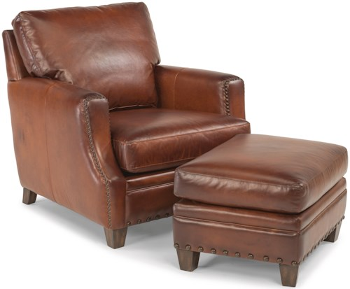 Leather Ottomans Set Of Three ~ Flexsteel latitudes maxfield rustic leather chair and