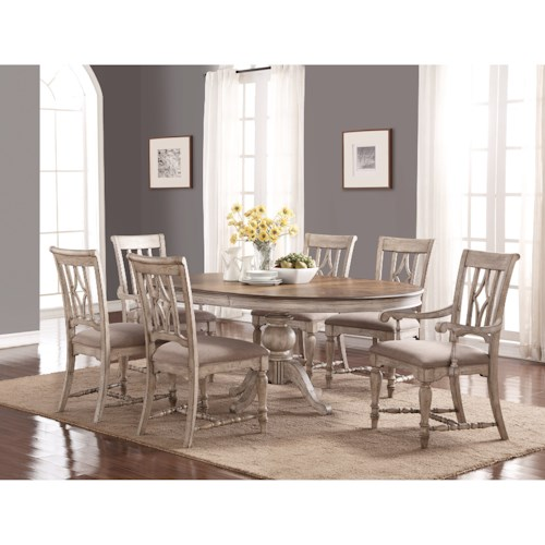 Flexsteel Wynwood Collection Plymouth Cottage Table And Chair Set With Pedestal Table Pilgrim