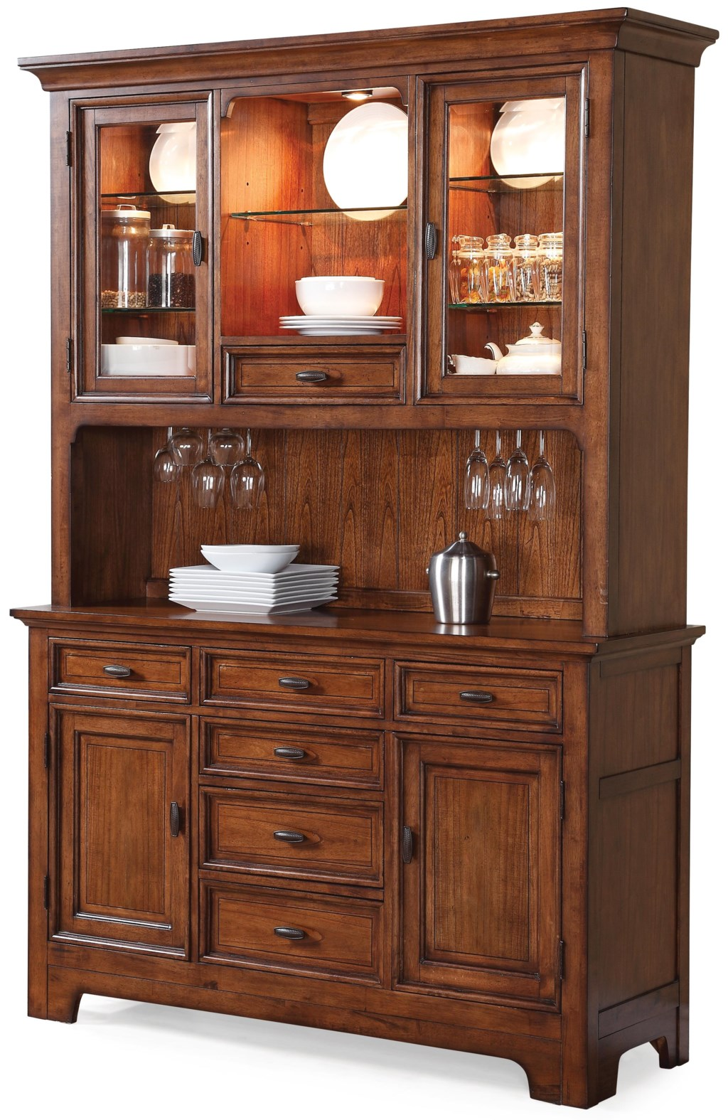 Flexsteel Wynwood Collection River Valley Buffet with Hutch and ...