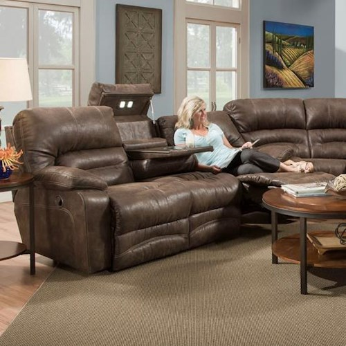 franklin legacy reclining sofa with table and lights