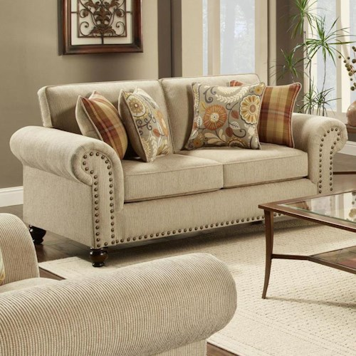 Transitional loveseat with nailhead trim 3110 by fusion for Furniture 0 percent financing