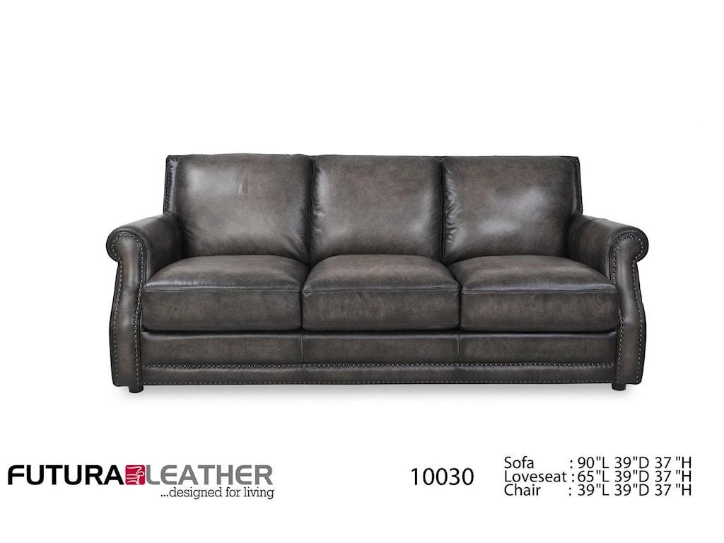 Futura leather sofa nailhead for Westbury leather sofa