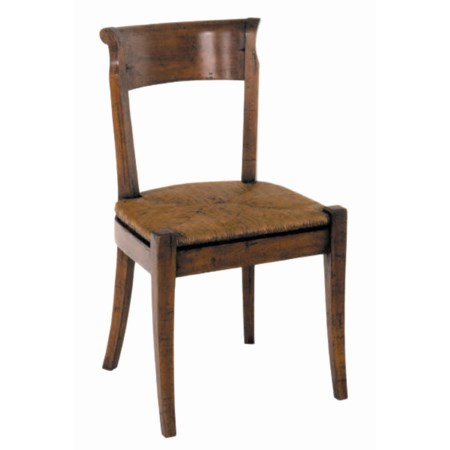 Country English Side Chair with Rush Seat