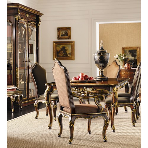 henredon arabesque leg table upholstered back chairs set