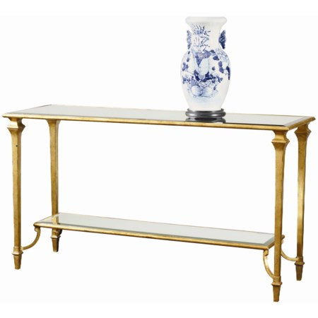 Turgot Console Table with Beveled Antique Mirror Shelf